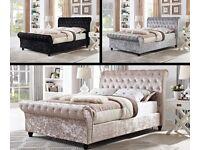 🌷💚🌷BRAND NEW 🌷💚🌷SLEIGH DESIGNER CRUSH VELVET DOUBLE BED ALL SIZE AVAILABLE SINGLE KINGIZE