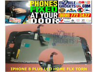 Black LCD Screen for Apple iPhone 8 With Torn Home Flex