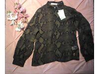 Pierre Balmain green snake print silk blouse Size IT42 RRP £220 BNWT