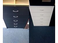 NEW Chest of 5 Drawers in Black or White