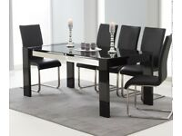 Dining table glass with 6 chairs