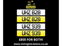 UHZ 828 & UHZ 939 Matching pair of NI number plates - Cherished Personal Private Registration plate