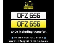 OFZ 656 - Short 3 digit NI Number Plate- Cherished Personal Private Registration plates