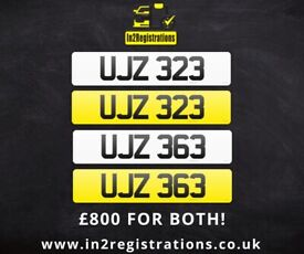 UJZ 323 & UJZ 363 Matching pair of NI number plates -Cherished Personal Private Registration plate
