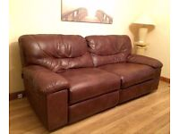 Set of 2 chestnut/brown leather electric seater sofas