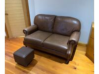 Two-seater leather sofa and Queen Anne chair