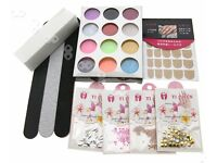 55 Pcs Acrylic Nail Art Tips Liquid Powder Practice Finger Training Tool Kit