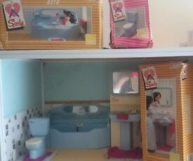 Blue Pedigree Sindy Bathroom Set With Boxes