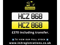 HCZ 868 - Short 3 digit NI Number Plate- Cherished Personal Private Registration plates