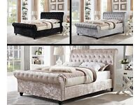 🌷💚🌷SPECIAL OFFER🌷💚🌷NEW CRUSHED VELVET FABRIC SLEIGH DOUBLE SIZE BED FRAME IN BLACK / SILVER