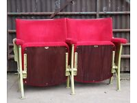 A Pair of Vintage Art Deco C1930s Red Velvet Cinema Theatre Seats of Larger Size REF105 UK Delivery