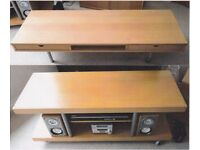 Modern Contemporary IKEA Beech TV Unit/Entertainment Stand ONLY & Coffee Table