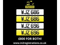 WJZ 686 & WJZ 696 - Matching pair of 3 digit dateless number plates.