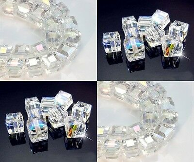 Wholesale Multicolor White AB Square Cube Cut Glass Crystal Loose Spacer Beads - Ab Cube