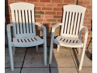 Garden Chairs x 2 white carvers