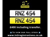 RNZ 454 - Short 3 digit NI Number Plate- Cherished Personal Private Registration plates