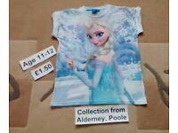 Girls Frozen Elsa Top T Shirt - Age 11-12