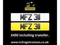 MFZ 311 - 3 digit Short NI Number Plate -Cherished Personal Private Registration plate-CAR,VAN,LORRY