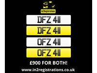 DFZ 411 & OFZ 411 Matching pair of NI number plates - Cherished Personal Private Registration plate