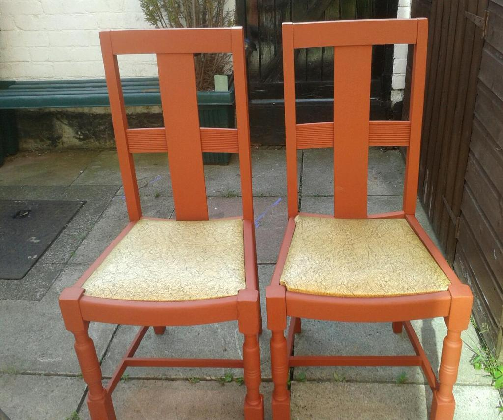 ChairsHome and gardenin Birkenhead, MerseysideGumtree - Solid wood farm house chairs. Painted in terracotta. Would be an asset to any kitchen. Heavy and well made