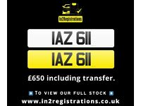 IAZ 611 - Short 3 digit NI Number Plate- Cherished Personal Private Registration plates