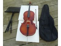 Cello 3/4 Size Stentor with Bow, soft case and Music stand