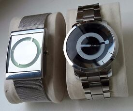JIALISI PAIR OF CHROME MENS WATCHES