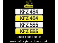 KFZ 494 & KFZ 595 Matching pair of NI number plates -Cherished Personal Private Registration plate