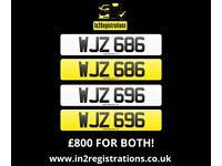 Matching pair of dateless NI number plates WJZ 686 & WJZ 696 for sale. - (Car,Van,Lorry,Motorhome)..