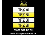 Matching pair of number plates YFZ 611 & YFZ 811 - £1000 for both -(Car,Van,Lorry)