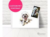 Custom pet portrait - Printed digital painting of your pet! Cat Dog Guinea Pig Rabbit Rats Horses