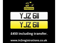 YJZ 611 - 3 digit Short NI Number Plate -Cherished Personal Private Registration plate-CAR,VAN,LORRY