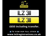 ILZ 311 - Short 3 digit NI Number Plate- Cherished Personal Private Registration plates