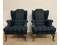 Large Pair of Oversized Wingback Armchairs for Upholstery - Comfy Large Model
