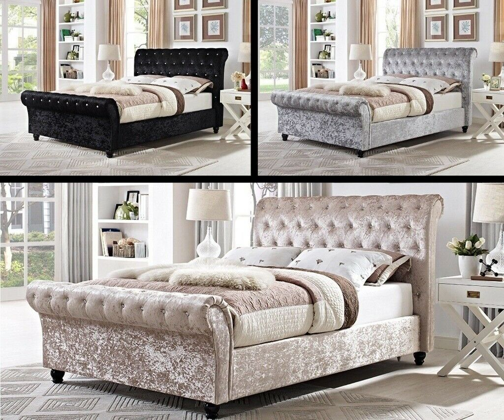 Prime Beautiful Designbrand New Double King Sleigh Double Size Crushed Velvet Fabric Bed Frame In Belvedere London Gumtree Pdpeps Interior Chair Design Pdpepsorg