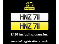 HNZ 711 - 3 digit Short NI Number Plate -Cherished Personal Private Registration plate-CAR,VAN,LORRY