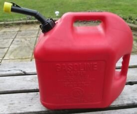 Red Plastic PETROL CONTAINER WITH SPOUT - 5 gallons, 18.9 Lt. very good condition.