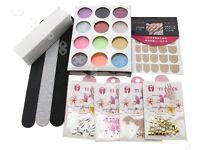 55 Pcs Acrylic Nail Art Tips Liquid Powder Practice Finger Training Tool Kit