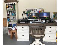 Reclaimed Wood Desk, Captains chair and Bookshelf