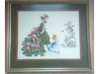 Large cross-stitch tapestry, professionally mounted, glazed and framed, perfect condition