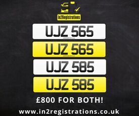 UJZ 565 & UJZ 585 Matching pair of NI number plates -Cherished Personal Private Registration plate