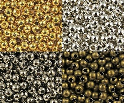 Wholesale Lot Silver Metal Round Spacer Beads Jewelry Craft 2mm 3mm 4mm 5mm (Silver Round Spacer Beads)
