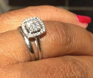 Natural Diamonds in 14K White Gold Bridal set  (Engagement Ring and Wedding Band)  Beautiful Halo Style (Size 5)