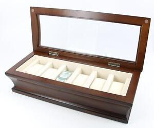 Top Quality Executive Wooden Matte Finish Wood Watch & Cufflink Jewelry Box Case (Brown)