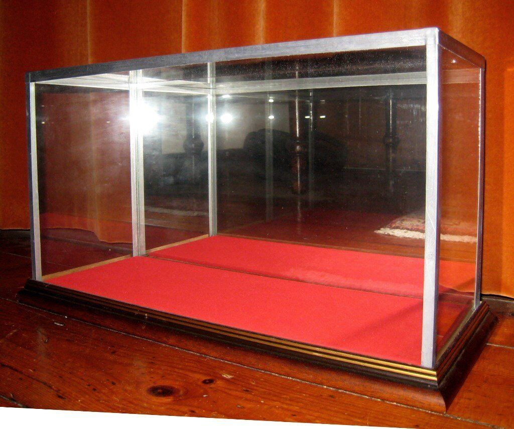 Large Lead Glass Mirror Wood Baize Model Display Case Taxidermy Specimen Doll Car Collectors Items