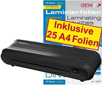 GENIE F9011 Laminiergerät + 25 DIN A4 Laminierfolien 80 mic Laminiertaschen Set