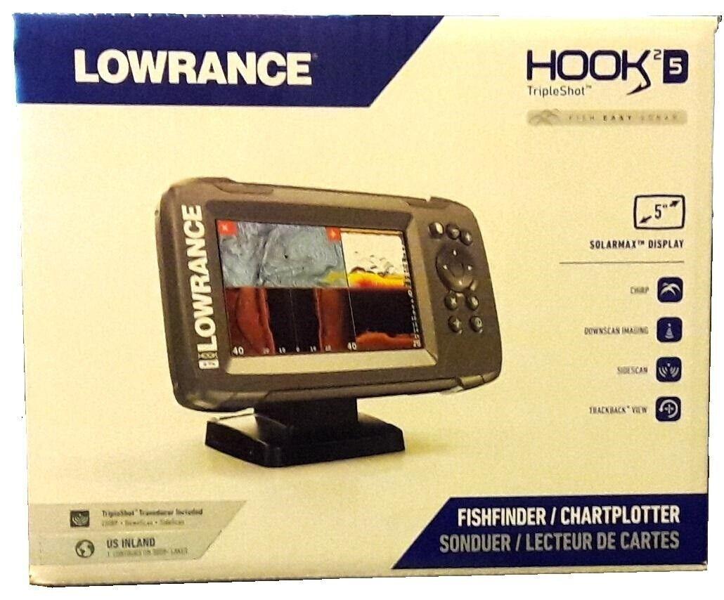 Lowrance HOOK2-9 TripleShot Transducer and US Inland Maps Fishfinder
