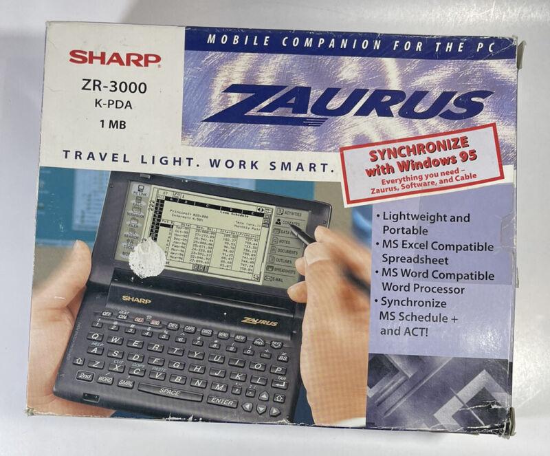 Sharp Zaurus ZR-3000 K-PDA Organizer Handheld Computer Stylus WORKS Disks Cable