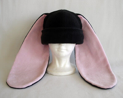 Rabbit Hat Costume (Long ear BUNNY rabbit HAT beanie BLACK & PINK anime cosplay Halloween)