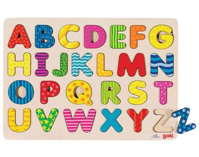 PUZZLE Alphabet ABC Setzpuzzle Steckpuzzle Holzpuzzle Alphabetpuzzle A-Z bunt